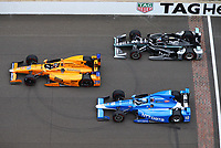 May 28, 2017; Indianapolis, IN, USA; IndyCar Series driver Fernando Alonso (29) leads Josef Newgarden (2) and Tony Kanaan (10) during the 101st Running of the Indianapolis 500 at Indianapolis Motor Speedway. Mandatory Credit: Mark J. Rebilas-USA TODAY Sports