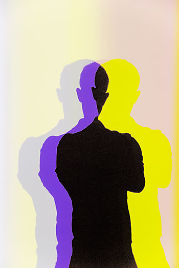 Multiple colorful shadows resulting from the light installations of Danish-Icelandic artist Olafur Eliasson at MoMA in 2008.