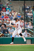 Rochester Red Wings John Andreoli (9) at bat during an International League game against the Buffalo Bisons on May 31, 2019 at Frontier Field in Rochester, New York.  Rochester defeated Buffalo 5-4 in ten innings.  (Mike Janes/Four Seam Images)