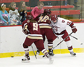 Allie Thunstrom (BC - 9), Ashley Motherwell (BC - 18), Ashley Wheeler (Harvard - 12) - The Harvard University Crimson defeated the Boston College Eagles 5-0 in their Beanpot semi-final game on Tuesday, February 2, 2010 at the Bright Hockey Center in Cambridge, Massachusetts.
