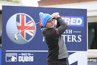 Eddie Pepperell (ENG) on the 1st tee during the Hero Pro-am at the Betfred British Masters, Hillside Golf Club, Lancashire, England. 08/05/2019.<br /> Picture Fran Caffrey / Golffile.ie<br /> <br /> All photo usage must carry mandatory copyright credit (© Golffile | Fran Caffrey)