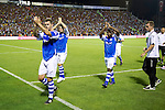 St Johnstone v Eskisehirspor....18.07.12  Uefa Cup Qualifyer.David McCracken, Gary Miller and Nigel Hasselbaink applaud the saints fans.Picture by Graeme Hart..Copyright Perthshire Picture Agency.Tel: 01738 623350  Mobile: 07990 594431