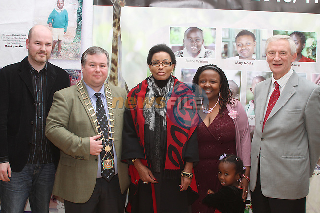 Frank Kelly, Mayor Paul Bell, Kenyan Ambassador Catherine Muigai Mwangi, Wanjiru and Joanne Kihara with John Woodside at the Reception for the Kenyan Ambassador to Ireland in the Droichead Arts Centre...(Photo credit should read Jenny Matthews www.newsfile.ie)....This Picture has been sent you under the condtions enclosed by:.Newsfile Ltd..The Studio,.Millmount Abbey,.Drogheda,.Co Meath..Ireland..Tel: +353(0)41-9871240.Fax: +353(0)41-9871260.GSM: +353(0)86-2500958.email: pictures@newsfile.ie.www.newsfile.ie.