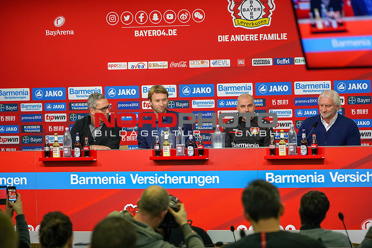 04.01.2019, BayArena, Leverkusen, GER, 1. FBL,  Bayer 04 Leverkusen PK Trainerwechsel,<br />  <br /> DFL regulations prohibit any use of photographs as image sequences and/or quasi-video<br /> <br /> im Bild / picture shows: <br /> erste Pressekonferenz von Peter Bosz Trainer / Headcoach (Bayer 04 Leverkusen), li Dirk Mesch Pressesprecher (Bayer 04 Leverkusen),  SIMON ROLFES Direktor Sport (Bayer 04 Leverkusen),  ganz re Rudi V&ouml;ller/ Voeller Geschaeftsfuehrer Sport (Bayer 04 Leverkusen), <br /> <br /> Foto &copy; nordphoto / Meuter