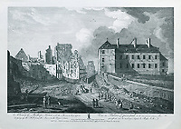 Episcopal Palace or Bishop's House and ruins, seen from the hill leading from Lower Town to Upper Town, engraving by Antoine Benoist, 1632-1717, after a drawing by Richard Short, published in 1761 as a collection of Views of Quebec in the 18th century, by Thomas Jefferys in London, in the collection of the Archives du Seminaire de Quebec, Quebec City, Quebec, Canada. Picture by Manuel Cohen