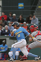 Myrtle Beach Pelicans infielder Christopher Bostick #11 at bat during a game against the Salem Red Sox at Ticketreturn.com Field at Pelicans Ballpark on April 4, 2014 in Myrtle Beach, South Carolina. Salem defeated Myrtle Beach 4-0. (Robert Gurganus/Four Seam Images)