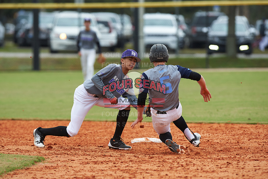 Braden Montgomery (11) of Madison, Mississippi during the Baseball Factory All-America Pre-Season Rookie Tournament, powered by Under Armour, on January 13, 2018 at Lake Myrtle Sports Complex in Auburndale, Florida.  (Michael Johnson/Four Seam Images)