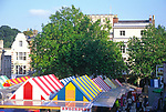 ATBK12 Colourful market  stalls in market square Norwich Norfolk England. Image shot 2005. Exact date unknown.