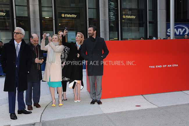WWW.ACEPIXS.COM<br /> March 23, 2015 New York City<br /> <br /> John Slattery, Elisabeth Moss, Mathew Weiner, Christina Hendricks, January Jones, and Jon Hamm attending the 'Mad Men' art installation Unveiling at Time &amp; Life Building on March 23, 2015 in New York City. <br /> <br /> Please byline: Kristin Callahan/AcePictures<br /> <br /> ACEPIXS.COM<br /> <br /> Tel: (646) 769 0430<br /> e-mail: info@acepixs.com<br /> web: http://www.acepixs.com
