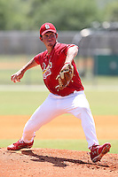 St. Louis Cardinals minor league pitcher Zach Russell delivers a pitch during a spring training game vs the New York Mets at the Roger Dean Sports Complex in Jupiter, Florida;  March 24, 2011.  Photo By Mike Janes/Four Seam Images