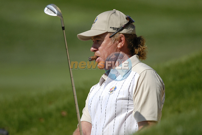 European Team member Miguel Angel Jimenez chips out of a bunker at the 13th green on Practice Day1 of the 37th Ryder Cup at Valhalla Golf Club, Louisville, Kentucky, USA, 17th September 2008 (Photo by Eoin Clarke/GOLFFILE)