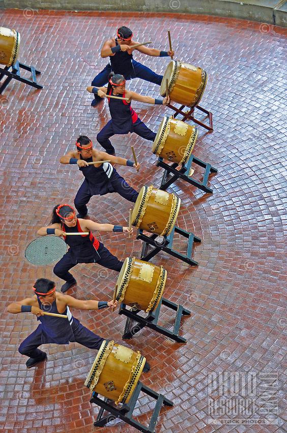 Precision taiko drumming at Ward Warehouse shopping center, Honolulu, O'ahu.
