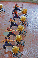 Precision taiko drumming at Ward Warehouse shopping center, Honolulu, O'ahu.