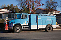 A PG&E utility truck powered by natural gas on a street. The truck is a clean air vehicle. Cupertino, California, USA