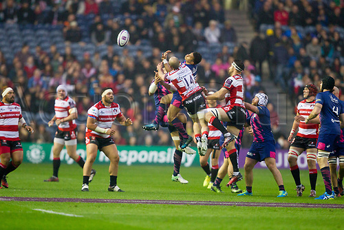 May 12th 2017, BT Murrayfield, Edinburgh, Scotland; European Rugby Challenge Cup Final; Gloucester versus Stade Francais; Charlie Sharples (Gloucester) goes arial for the high ball