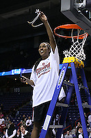 31 March 2008: Candice Wiggins cuts down the net and celebrates after Stanford's 98-87 win over the University of Maryland in the elite eight game of the NCAA Division 1 Women's Basketball Championship in Spokane, WA.