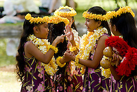 Young hula dancers about to perform at Kapiolani park bandstand on May day, also known in Hawaii as lei day
