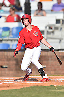Johnson City Cardinals third baseman Bryce Denton (25) swings at a pitch during a game against the Elizabethton Twins at Howard Johnson Field at Cardinal Park on June 26, 2016 in Johnson City, Tennessee. The Twins defeated the Cardinals 13-12. (Tony Farlow/Four Seam Images)