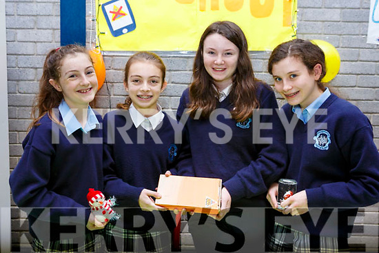 Castleisland Presentation Secondary school students display their project Block out box, used for cutting down the radiation on a mobile phone during charging, l-r, Sophia McGailey (Castleisland), Cara Flemming (Currow), Mairead McBride (Castleisland) and Danielle Moriaty (Currow).