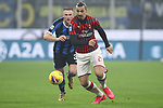 Zlatan Ibrahimovic of AC Milan is pursued by Milan Skriniar of Inter during the Serie A match at Giuseppe Meazza, Milan. Picture date: 9th February 2020. Picture credit should read: Jonathan Moscrop/Sportimage