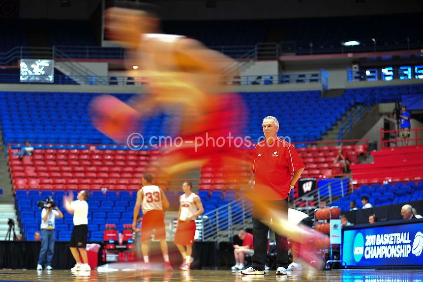 Mar 16, 2011; Tucson, AZ, USA; Wisconsin Badgers head coach Bo Ryan watches his team practice on the day before the second round of the 2011 NCAA men's basketball tournament at the McKale Center.