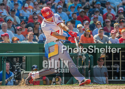 7 August 2016: Washington Nationals infielder Trea Turner in action against the San Francisco Giants at Nationals Park in Washington, DC. The Nationals shut out the Giants 1-0 to take the rubber match of their 3-game series. Mandatory Credit: Ed Wolfstein Photo *** RAW (NEF) Image File Available ***