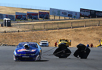 Jul. 27, 2014; Sonoma, CA, USA; NHRA pro stock driver Jason Line after winning the Sonoma Nationals at Sonoma Raceway. Mandatory Credit: Mark J. Rebilas-