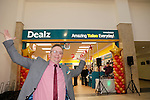 Store Manager John Fowley with Dougie at the opening of the Dealz new store in Mullingar Co West Meath.<br /> <br /> Picture Newsfile/Professional Images