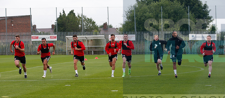 Sprint training for the players during the training session at the Shirecliffe Training complex, Sheffield. Picture date: June 27th 2017. Pic credit should read: Simon Bellis/Sportimage
