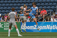 Bridgeview, IL - Saturday May 27, 2017: Jaelene Hinkle, Sofia Huerta during a regular season National Women's Soccer League (NWSL) match between the Chicago Red Stars and the North Carolina Courage at Toyota Park. The Red Stars won 3-2.