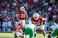 STANFORD, CA - SEPTEMBER 21: Jet Toner #26 of the Stanford Cardinal prepares to make a field goal from the 32 yard line during a game between University of Oregon and Stanford Football at Stanford Stadium on September 21, 2019 in Stanford, California.