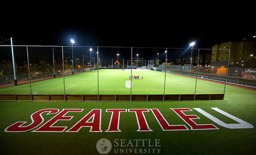 11062012-  Seattle University Park is a vibrant outdoor community gathering space and multipurpose recreation area for all students, including those involved in intramural & recreational sports and intercollegiate athletics. Logan Field, the softball field in the background is now located in the southwest corner as a greatly enhanced tribute to the SU legend for which it is named.