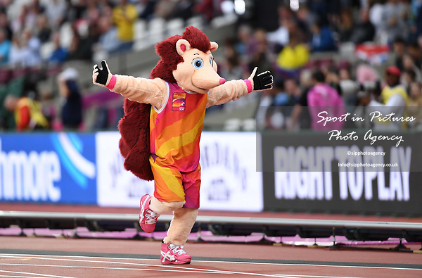 Hero the hedgehog mascot. IAAF world athletics championships. London Olympic stadium. Queen Elizabeth Olympic park. Stratford. London. UK. 08/08/2017. ~ MANDATORY CREDIT Garry Bowden/SIPPA - NO UNAUTHORISED USE - +44 7837 394578