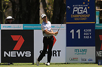 Jarryd Felton (AUS) on the 11th tee during Round 1 of the Australian PGA Championship at  RACV Royal Pines Resort, Gold Coast, Queensland, Australia. 19/12/2019.<br /> Picture Thos Caffrey / Golffile.ie<br /> <br /> All photo usage must carry mandatory copyright credit (© Golffile | Thos Caffrey)