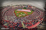 4 April 2014: A sellout crowd of 42,834 stands for the National Anthem prior to the Washington Nationals Home Opening Game at Nationals Park in Washington, DC. The Atlanta Braves edged out the Nationals 2-1 in their first meeting of the 2014 MLB season. Mandatory Credit: Ed Wolfstein Photo *** RAW (NEF) Image File Available ***