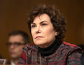 """United States Senator Jacky Rosen (Democrat of Nevada) listens to the testimony before the US Senate Committee on Homeland Security and Governmental Affairs Permanent Subcommittee on Investigations during a hearing on """"Examining Private Sector Data Breaches"""" on Capitol Hill in Washington, DC on Thursday, March 7, 2019.<br /> Credit: Ron Sachs / CNP"""