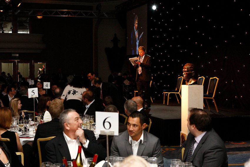 Photo: Richard Lane/Richard Lane Photography. .Serge Betsen Testimonial Dinner at the Hilton on Park Lane. 25/02/2011. John Inverdale.