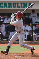 Boston College outfielder Tom Bourdon #7 at bat during a game against the University of Virginia Cavaliers at Watson Stadium at Vrooman Field on February 17, 2012 in Conway, SC.  Boston College defeated Virginia 5-3.  (Robert Gurganus/Four Seam Images)