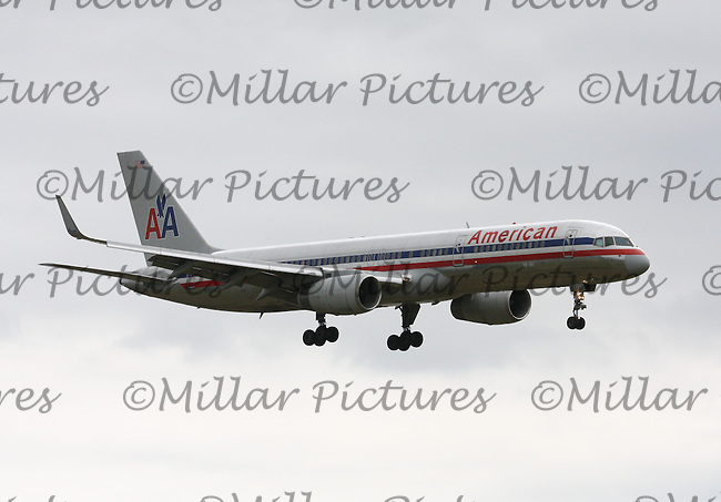 An American Airlines Boeing 757-223 Registration N197AN landing at London Heathrow Airport on 29.5.11.