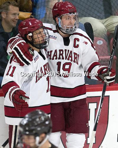 Kyle Criscuolo (Harvard - 11), Jimmy Vesey (Harvard - 19) - The Harvard University Crimson defeated the visiting Brown University Brown Bears 5-2 (EN) on Saturday, November 7, 2015, at Bright-Landry Center in Boston, Massachusetts.