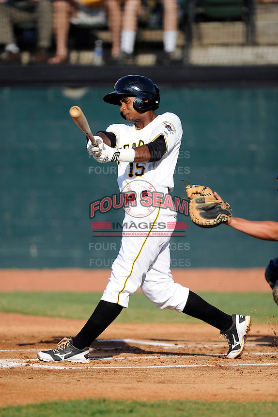 Second baseman Pablo Reyes (15) of the Bristol Pirates bats in a game against the Greeneville Astros on Saturday, July 26, 2014, at DeVault Memorial Stadium in Bristol, Virginia. Greeneville won, 2-1 in Game 1 of a doubleheader. (Tom Priddy/Four Seam Images)