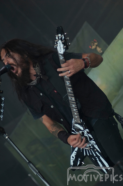 Heavy Metal band Machine Head plays the main stage during Mayhem Fest 2011 at Verizon Wireless Amphitheater in St. Louis, MO.