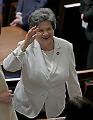United States Representative Lois Frankel (Democrat of Florida) on the US House floor prior to US President Donald J. Trump delivering his second annual State of the Union Address to a joint session of the US Congress in the US Capitol in Washington, DC on Tuesday, February 5, 2019.  Rep. Frankel, the chairwoman of the House Democratic Women's Working Group, invited women from both sides of the aisle to wear all-white as a tribute to the women's suffrage movement, as they attend the President's address.<br /> Credit: Alex Edelman / CNP