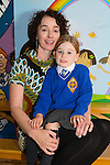 Rowan Moore with her mom Sarah Barry on her first day at CBS primary on Tuesday