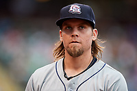 Colorado Springs Sky Sox starting pitcher Michael Blazek (14) during a game against the Oklahoma City Dodgers on June 2, 2017 at Chickasaw Bricktown Ballpark in Oklahoma City, Oklahoma.  Colorado Springs defeated Oklahoma City 1-0 in ten innings.  (Mike Janes/Four Seam Images)