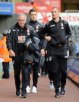 Shaun MacDonald of Bournemouth (R) arrives before the Barclays Premier League match between Swansea City and Bournemouth at the Liberty Stadium, Swansea on November 21 2015