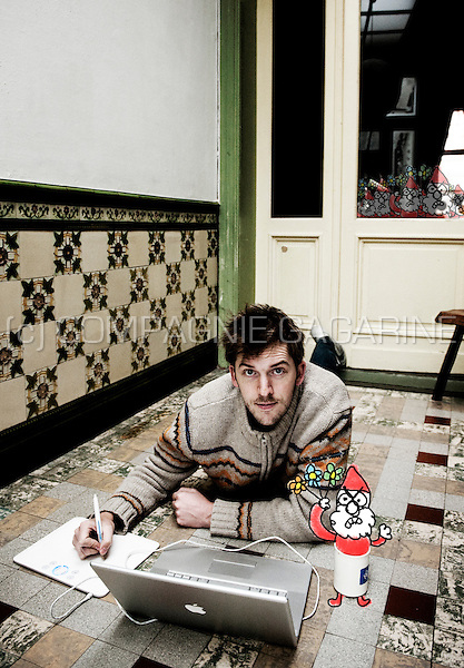 Jonas Geirnaert, creator of the Kabouter Wesley animation character in the Man Bijt Hond TV show (Belgium, 02/12/2009)