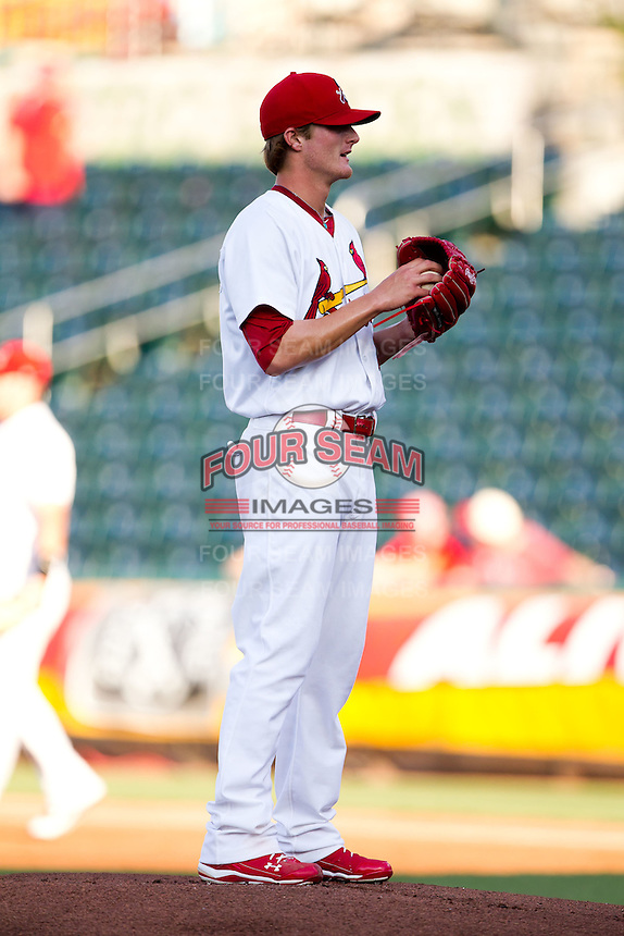Shelby Miller (26) of the Springfield Cardinals on the mound during a game against the Tulsa Drillers at Hammons Field on July 20, 2011 in Springfield, Missouri. Springfield defeated Tulsa 12-1. (David Welker / Four Seam Images)