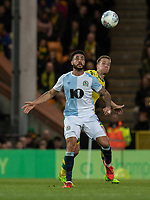 Blackburn Rovers' Derrick Williams (left) battles with Norwich City's Marco Stiepermann (right) <br /> <br /> Photographer David Horton/CameraSport<br /> <br /> The EFL Sky Bet Championship - Norwich City v Blackburn Rovers - Saturday 27th April 2019 - Carrow Road - Norwich<br /> <br /> World Copyright © 2019 CameraSport. All rights reserved. 43 Linden Ave. Countesthorpe. Leicester. England. LE8 5PG - Tel: +44 (0) 116 277 4147 - admin@camerasport.com - www.camerasport.com