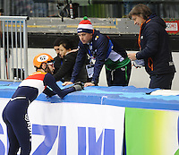 SHORT TRACK: TORINO: 15-01-2017, Palavela, ISU European Short Track Speed Skating Championships, 3000m SF, Sjinkie Knegt (NED), Koen Hakkenberg (assistent coach NED), Jeroen Otter (coach NED), ©photo Martin de Jong